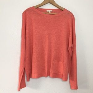 Eileen Fisher organic linen coral sweater L